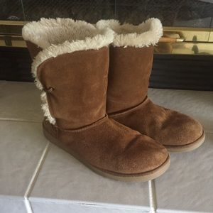 Sz 9 Brown Suede boots with fleece lining
